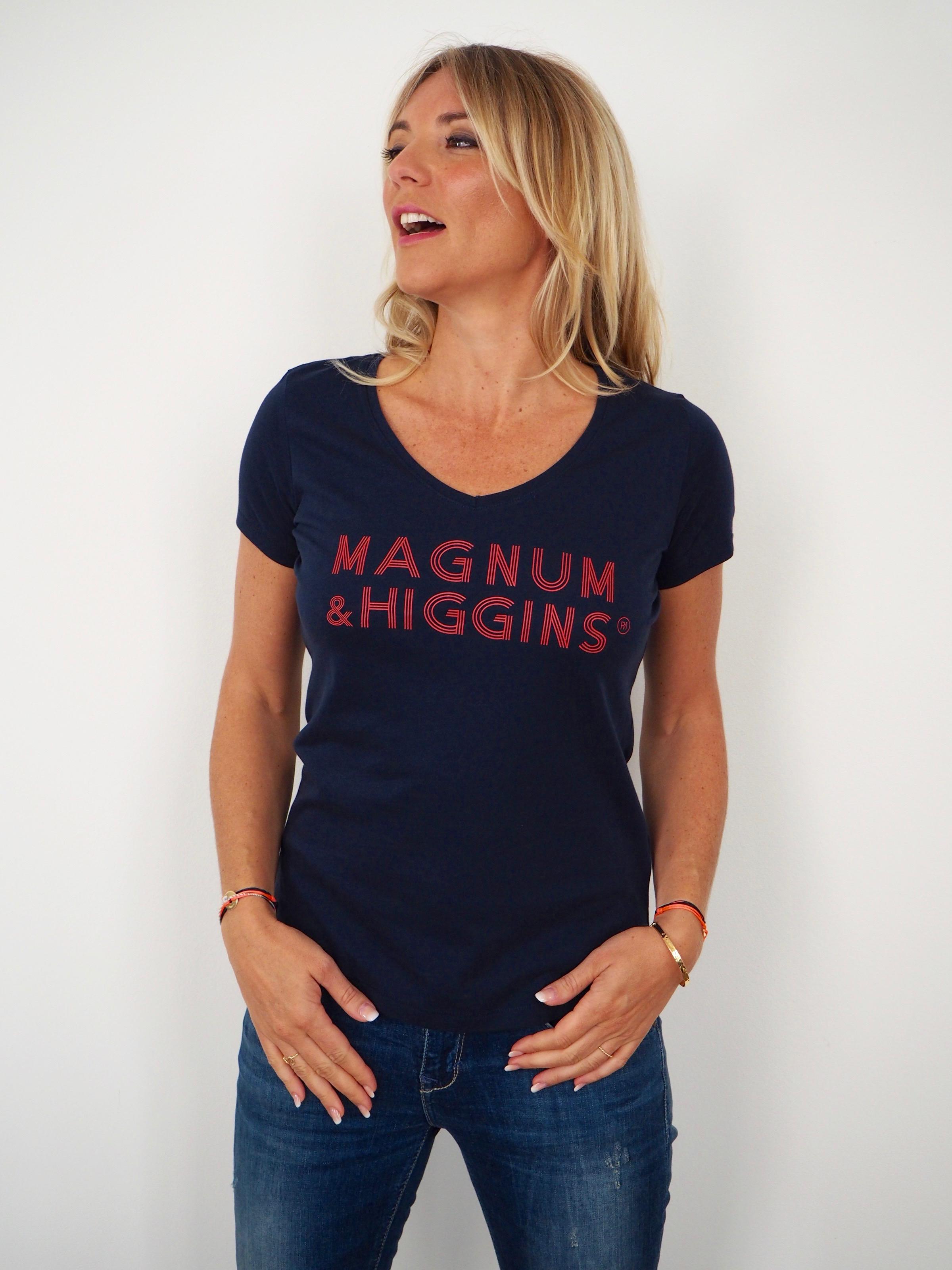 t-shirt magnum  u0026 higgins col v navy    rouge